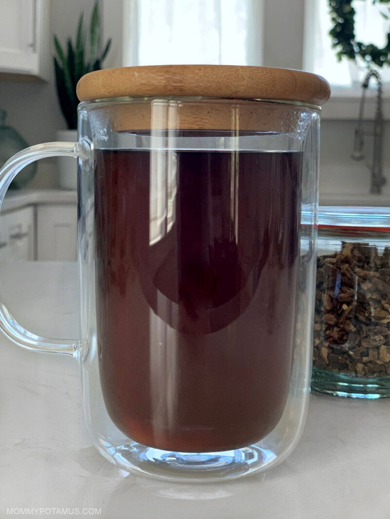 Up close view of burdock root tea