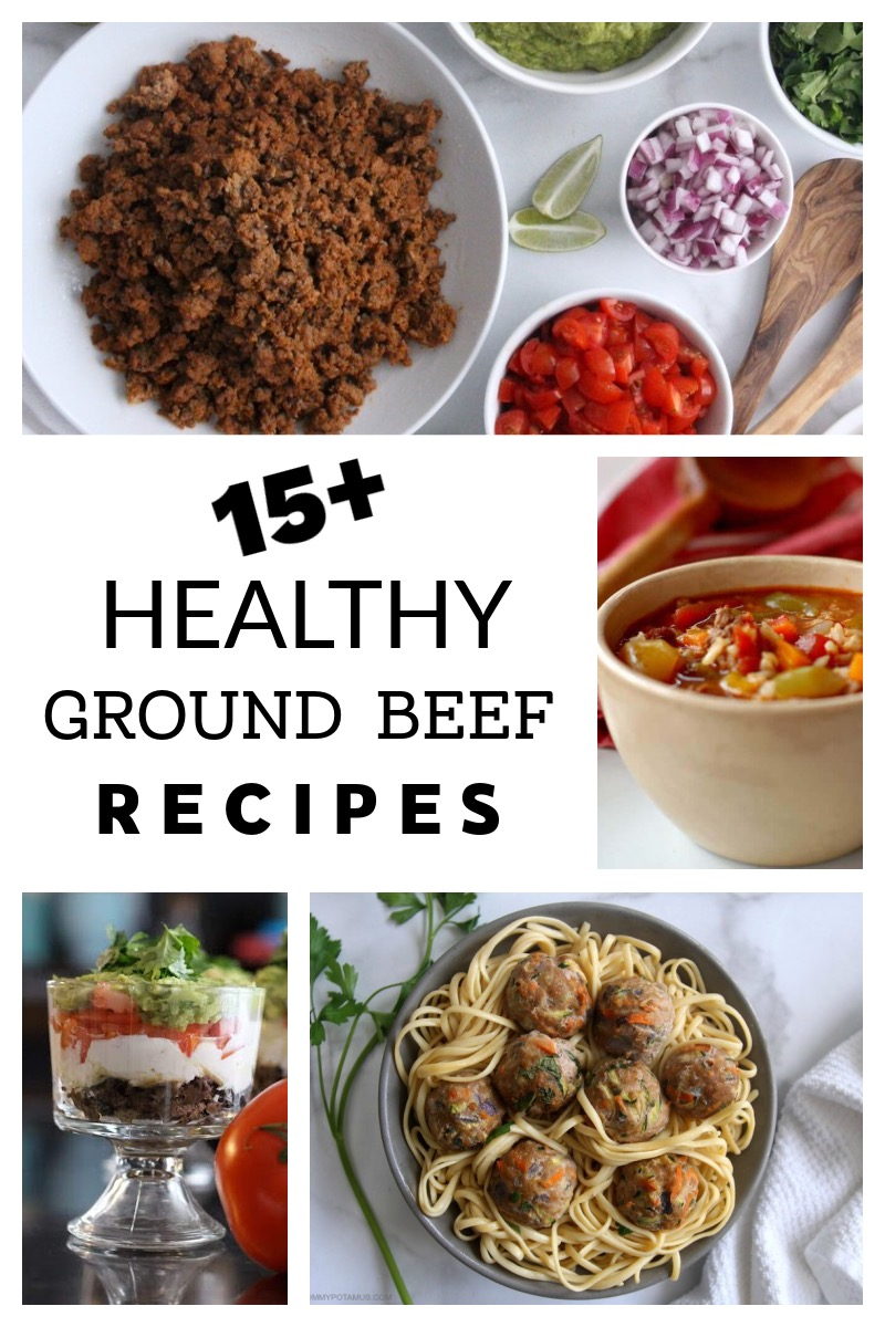 Collage of healthy ground beef recipes