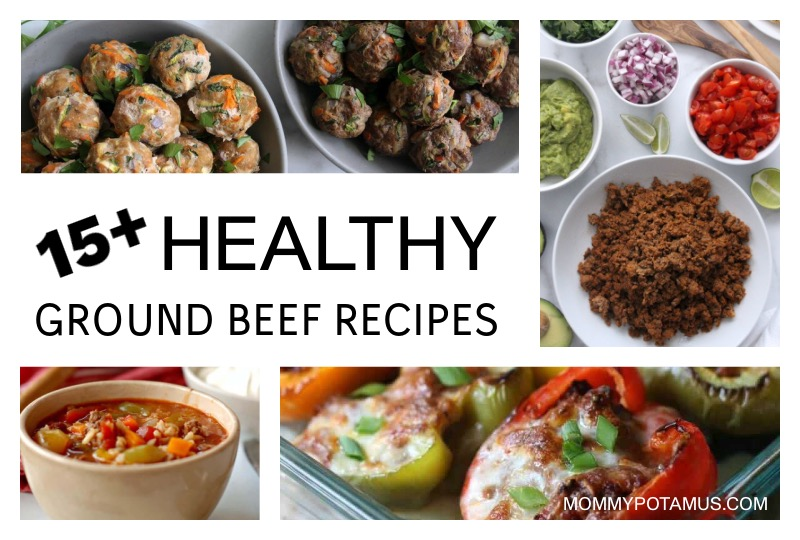 Collage of healthy ground beef recipes - meatballs, taco meat, sloppy Joe stuffed peppers, soup
