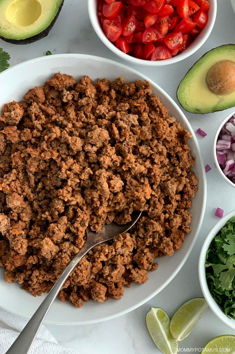 Overhead view of Instant Pot taco meat