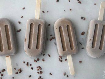 Homemade fudge pops on countertop