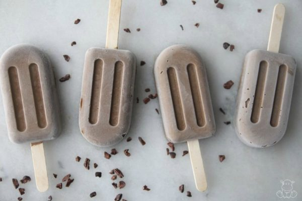 Homemade fudge pops on countertop