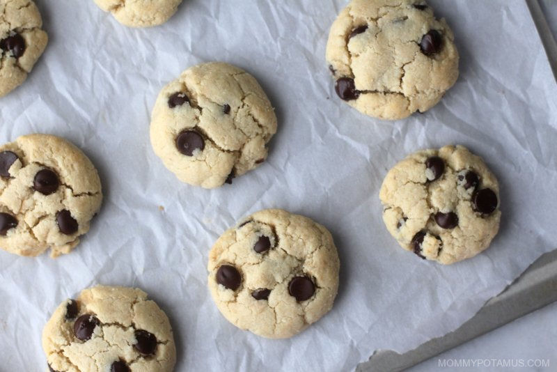 Healthy chocolate chip cookies on baking sheet
