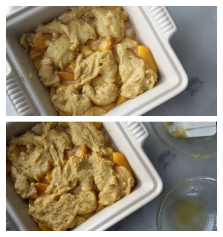 Unbaked peach mixture with topping spooned over the top.