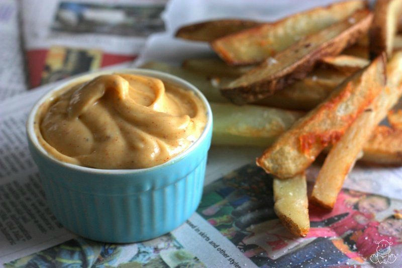 Homemade chipotle mayo with homestyle fries
