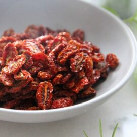 Oven dried tomatoes in a bowl