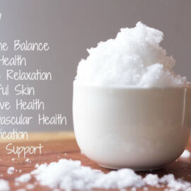 Magnesium flakes on table with list of benefits such as muscle relaxation, stress support, and gut health