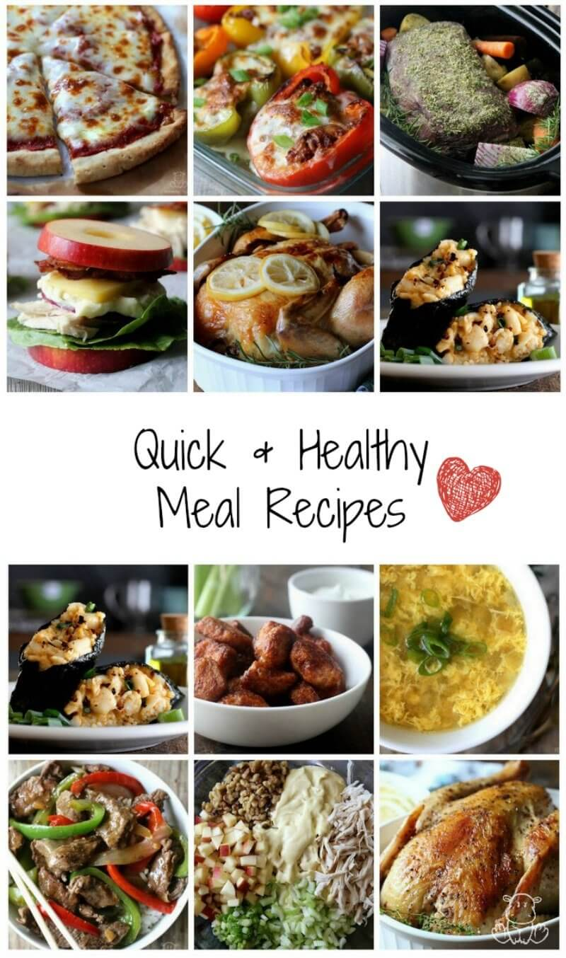 Collage of quick, healthy lunch and dinner recipes