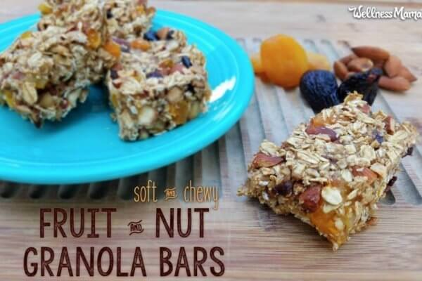 soft and chewy fruit and nut granola bar