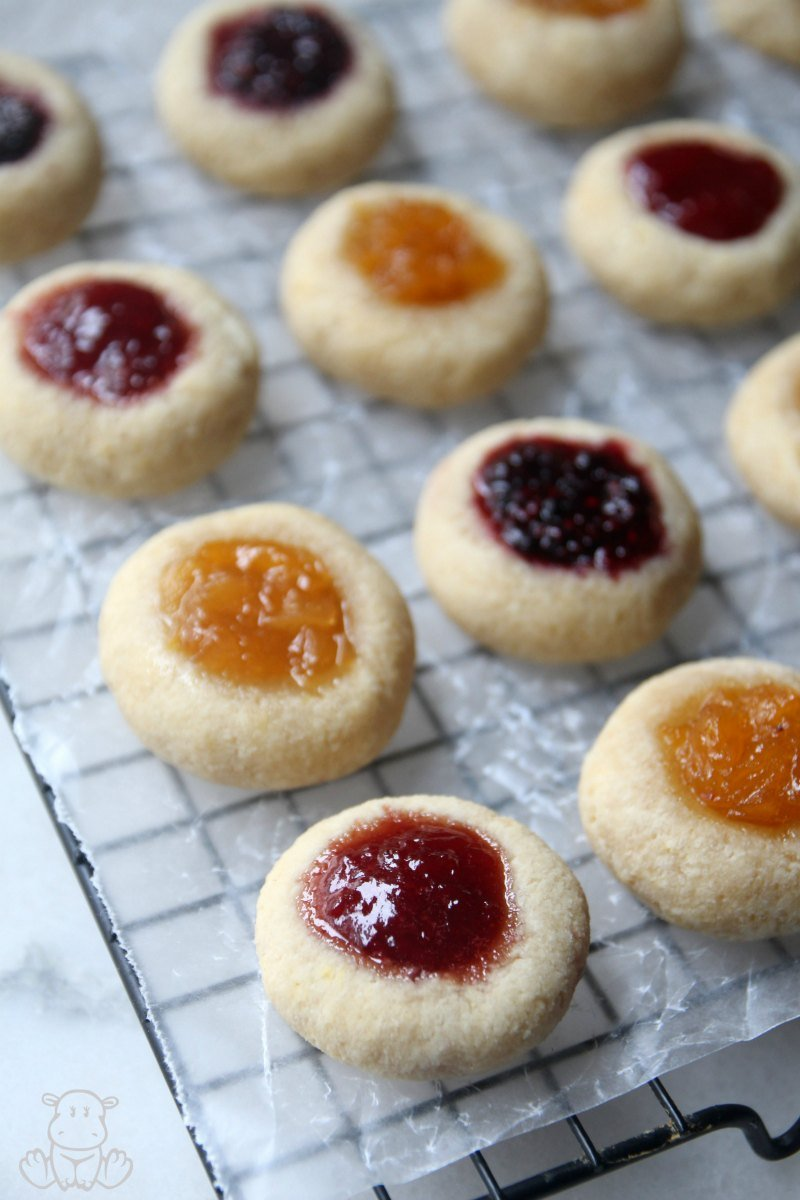 Thumbprint cookies on wire baking rack
